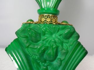 Art Deco Malachite Green Glass Perfume Bottle 1920s Signed