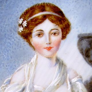 ANTIQUE FRENCH SIGNED HAND PAINTED MINIATURE PORTRAIT PAINTING, MAIDEN