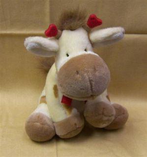 Adorable Russ 7 Plush Cuddly Baby Giraffe with Heart Antlers Red Bow