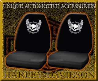 2pc Harley Davidson Skull Car Truck Bucket Seat Covers