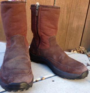 Womens size 8 5 LL Bean Winter Snow Boots Fleece Brown NuBuck Suede