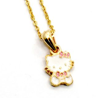 Gold 18K GF Baby Pink Girl Childs Kids Bow Hello Kitty Pendant Enamel