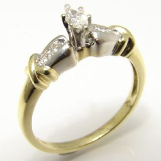 Heavy White and Yellow Gold Diamond Engagement Ring