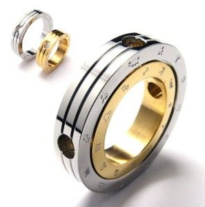 G288 Mens Silver Gold Zodiac Ring Fashion Stainless Steel Pendant