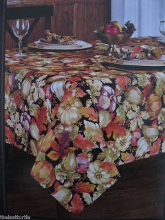 HARVEST DAWN Fall Thanksgiving Pumpkins Leaves Tablecloth ~ Napkins