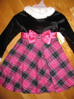New Toddler Girl Dollie & Me Fall Dress Sz 3T Black/Blue/White Plaid