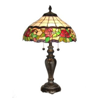 Dale Tiffany Rose Floral 2 Light Table Lamp