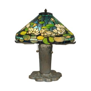 Dale Tiffany 24 Three Light Table Lamp in Antique Bronze and Verde