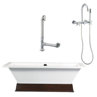 Giagni Ventura 67 Apron Tub with Floor Mount Faucet and Cross Handles