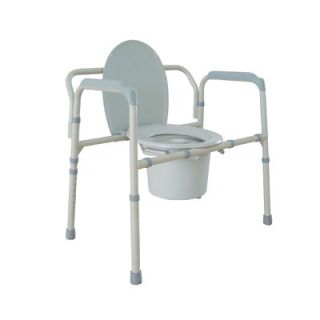 Drive Medical Heavy Duty Bariatric Folding Bedside Commode Seat in