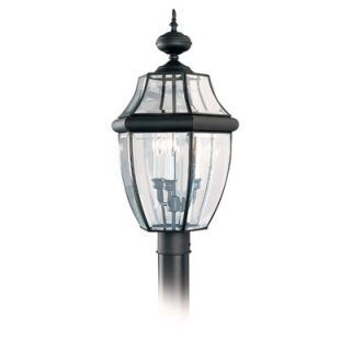 Sea Gull Lighting Classic Outdoor Post Lantern in Black