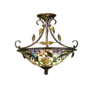 Dale Tiffany Crystal Peony 2 Light Semi Flush Mount