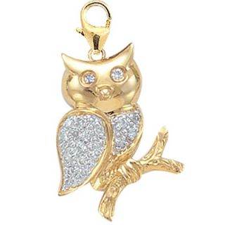 EZ Charms 14K 1.27 Grams Yellow Gold Diamond Owl Charm