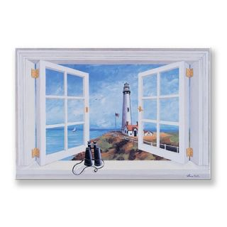 Industries Pigeon Point Lighthouse Wooden Faux Window Scene   FW 201