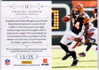 Jermaine Gresham National Treasures Auto Colossal Patch #d13/25 2011