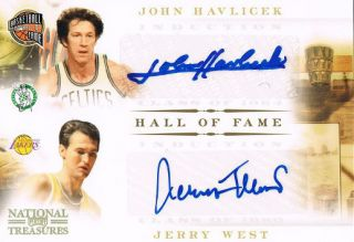 John Havlicek Jerry West 2011 National Treasures Hall of Fame Auto 25