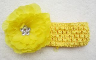 Yellow Baby Girls Crochet Headband Christmas Flower Hair Clip Free