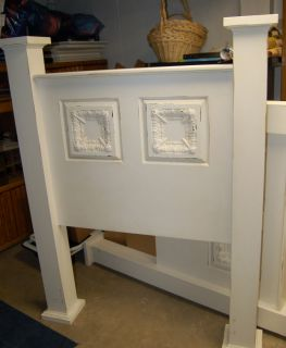 Girls White Washed Headboard Twin Bed Vintage Tins