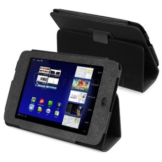 Premium Black Leather Wallet Stand Pouch Case Cover Skin for Archos 80