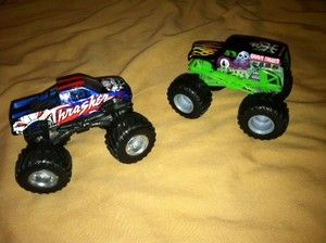 Lot of 3 Monster Truck Toys Trucks Cars Grave Digger More