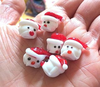 Santa Claus shaped beads handmade Christmas lampwork red white bead