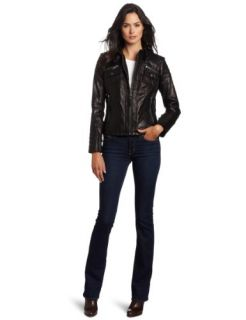 MICHAEL Michael Kors Womens Zip Front Leather Jacket