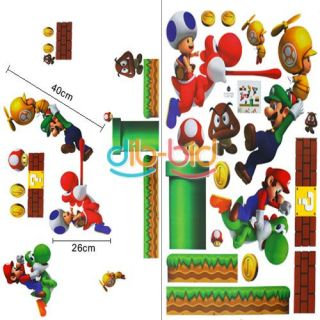 Mario Bros PVC Removable Wall Sticker Home Decor for Kids Room