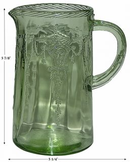 Hocking Cameo / Ballerina Green Depression Glass Scarce Milk Pitcher