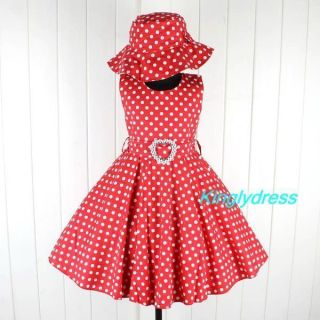 New Girls Spring Summer Holiday Dress Hat Set Red Outfit Children Size