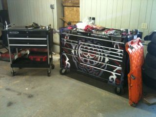 SnapOn Tool Box and Tools and Hand Cart