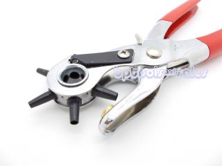 New LEATHER HOLE PUNCH w/ Coating Hand Pliers Punch Belt Holes Rubber