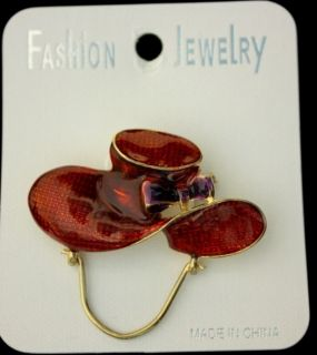 Enamel Gold Tone Red Hat Society Brooch Pin Purple Ribbon