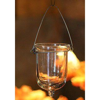 Hanging Tealight Holder Set of 6 Clear Glass   3 Inches