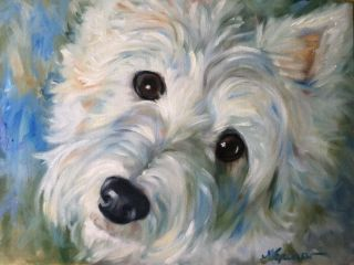 Sparrow Westie West Highland Terrier Dog White Puppy Ball Oil Portrait