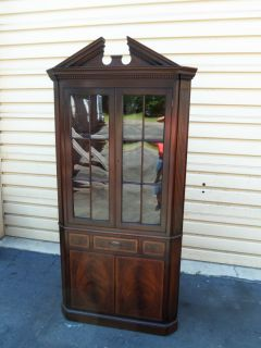 50337 Antique Baker Furniture Mahogany Corner China Cabinet Curio