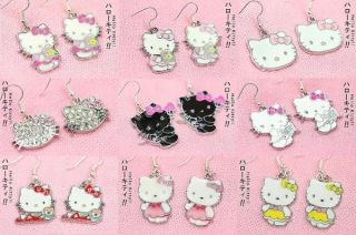 Wholesale Hello Kitty Cat Charms Earrings 9 Pairs Set A
