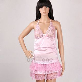 Women Sexy Lingerie Babydoll Dress Lace Cake Skirt Halter Night Robe G