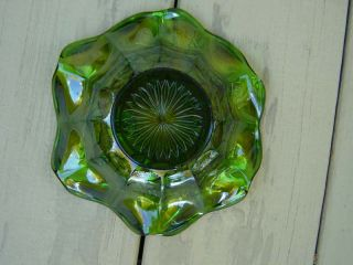 Vintage Carnival Glass Millersburg Holly Whirl Bowl in Green REDUCED