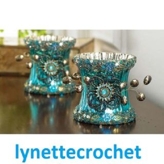Peacock Blue Beaded Bejeweled Votive Candle Holder Great Gift New Sale