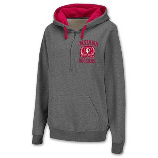Indiana Hoosiers Half Zip NCAA Womens Hoodie Grey