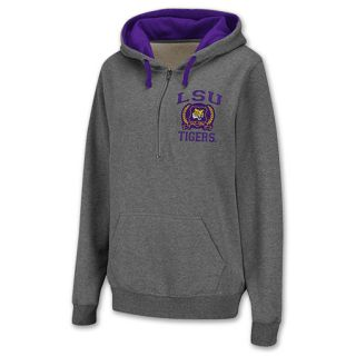 LSU Tigers Half Zip NCAA Womens Hoodie Grey
