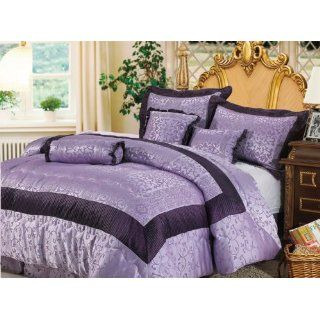 7 Pieces Light Purple Jacquard Floral Comforter Set Bed in