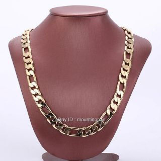 Heavy 24 10mm 18K Yellow Gold Filled Mens Necklace Figaro Chain GF