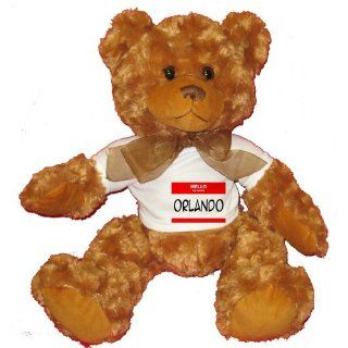 HELLO my name is ORLANDO Plush Teddy Bear with WHITE T
