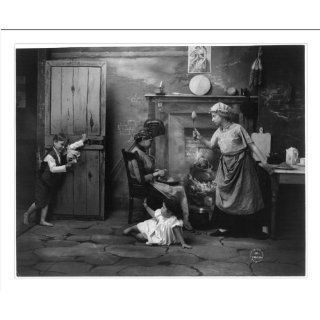 Historic Print (M) [Woman holding up spoon at boy, with