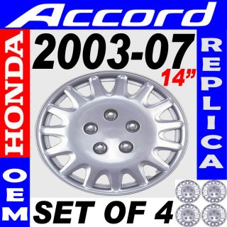 Piece Set Silver ABS Fits 2003 2004 Honda Accord 15 Wheel Covers