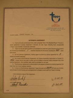 1987 Topps Baseball Signed Card Contract Hubie Brooks