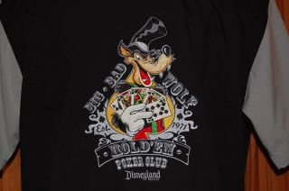 Disney Big Bad Wolf Texas Holdem Poker Shirt Mens XL