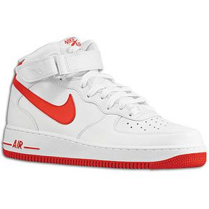 Nike Air Force 1 Mid   Mens   Basketball   Shoes   White/Varsity Red