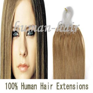 20 Indian Remy Loop Micro Rings Human Hair Extensions 100S #16 Ash